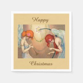 Elegant Angels & Music Happy Christmas Disposable Napkins