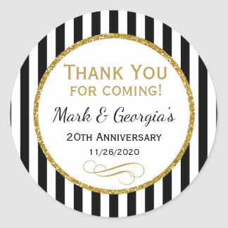 Elegant Anniversary Black Gold Thank You Favor Tag Round Sticker