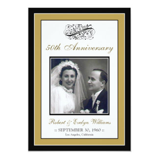Elegant Anniversary Party Custom Invitation (gold)