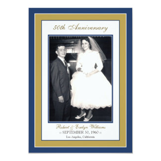 Elegant Anniversary Party Invitation (blue/gold)