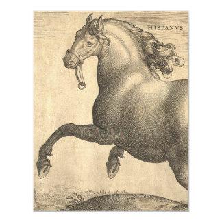 Elegant Antique Engraving of Spanish Horse Card
