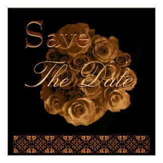 Elegant ANTIQUE GOLD Rose Wedding Save Date Invite