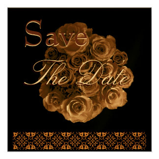 Elegant ANTIQUE GOLD Rose Wedding Save Date Invite