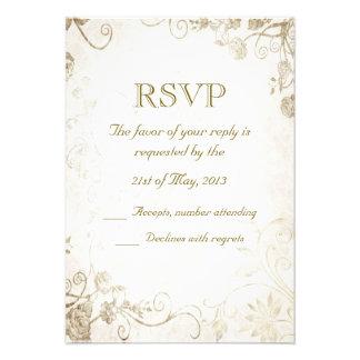 Elegant Antique Gold Vintage Wedding RSVP Card Custom Invite