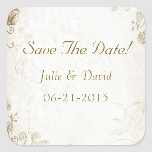 Elegant Antique Gold Vintage Wedding Save The Date Square Stickers