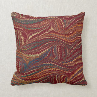 Elegant Antique Marbled Paper Burgundy and Gold Cushion