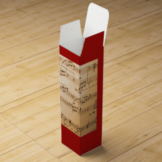 Elegant antique Music Notes on Bold Red Wine Box