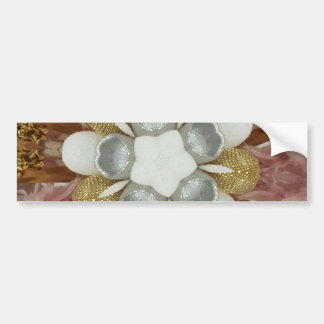 Elegant Antique Pink Silver Gray Gold White Flower Bumper Sticker
