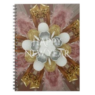 Elegant Antique Pink Silver Gray Gold White Flower Notebook
