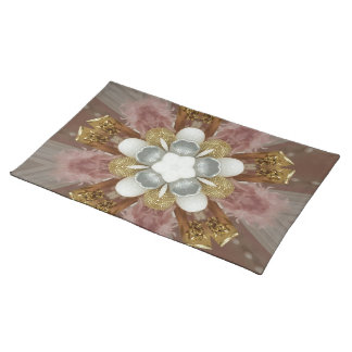 Elegant Antique Pink Silver Gray Gold White Flower Placemat