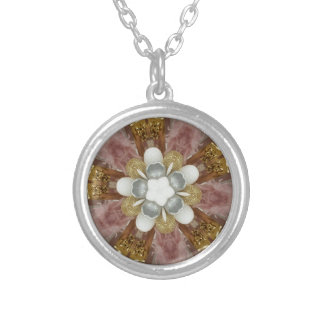 Elegant Antique Pink Silver Gray Gold White Flower Silver Plated Necklace