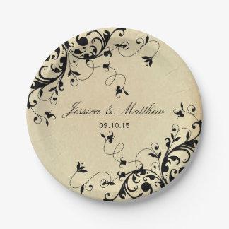 Elegant Antique Swirls Wedding 7 Inch Paper Plate