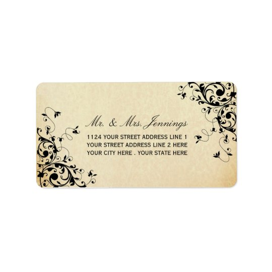 Elegant Antique Swirls Wedding Labels