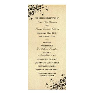 Elegant Antique Swirls Wedding Program Template Rack Card