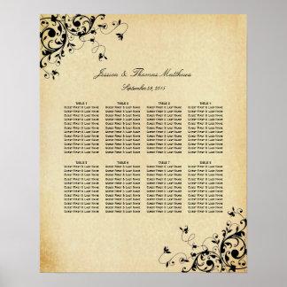 Elegant Antique Swirls Wedding Seating Chart
