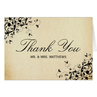Elegant Antique Swirls Wedding Thank You Card