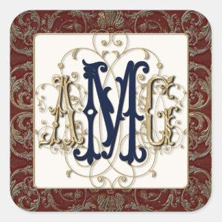 Elegant Antiqued Gold Baroque Monogrammed Seals Stickers