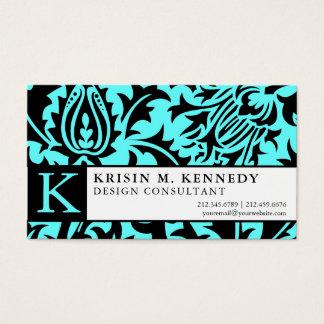 Elegant Aqua and Black William Morris Thistle Business Card