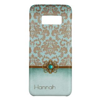 Elegant Aqua and Brown Damask Samsung S8 Case