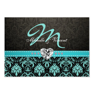Elegant Aqua Blue and Black Damask Monogram RSVP 9 Cm X 13 Cm Invitation Card