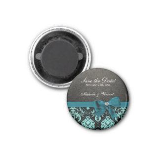 Elegant Aqua Blue and Black Damask Save the Date Magnet