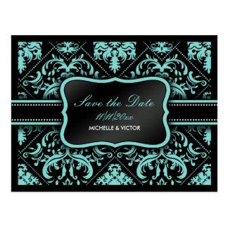 Elegant Aqua Blue and Black  Damask Save the Date Postcard