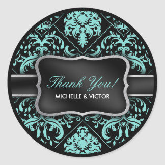 Elegant Aqua Blue and Black Damask Thank You Round Sticker