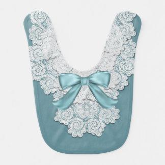 Elegant Aqua Blue and Lace Baby Bib