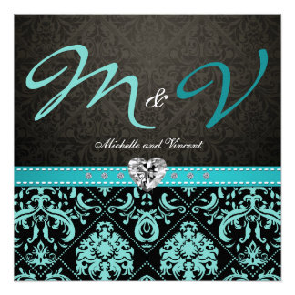 Elegant Aqua Blue Black Damask Wedding Invites