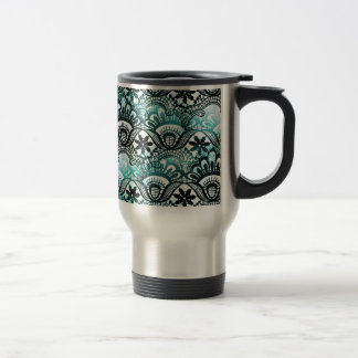 Elegant Aqua Blue Black Faded Distressed Damask La Stainless Steel Travel Mug