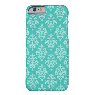 Elegant Aqua Blue Damask Barely There iPhone 6 Case