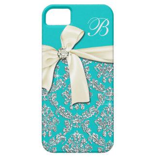 Elegant Aqua Silver Damask Diamond Bow Monogrammed iPhone 5 Covers