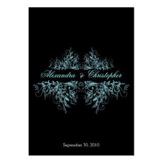 Elegant Aqua Swirls RSVP Wedding Announcement Mini Pack Of Chubby Business Cards