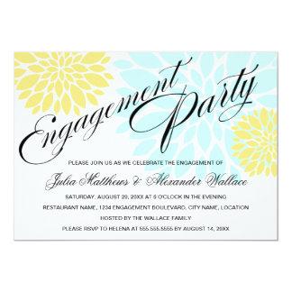 Elegant Aqua Yellow Floral Burst Engagement Party 13 Cm X 18 Cm Invitation Card