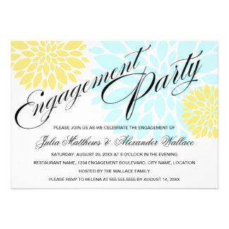 Elegant Aqua Yellow Floral Burst Engagement Party Invites