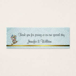Elegant Aquamarine Damask Wedding Favor Tags