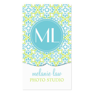 Elegant Arabesque Damask Turquoise Personalized Business Card Template