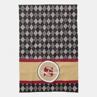 Elegant Argyle w/Name Golf or Tea Towel