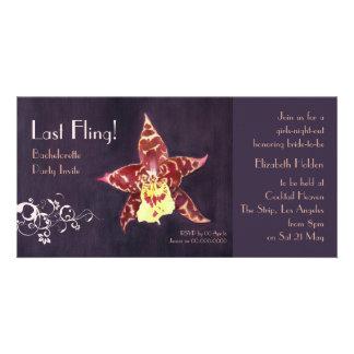 Elegant art deco black orchid Bachelorette invites Photo Greeting Card