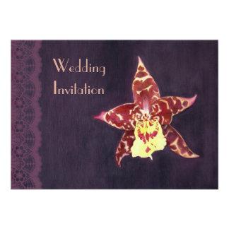 Elegant art deco black orchid wedding invitations