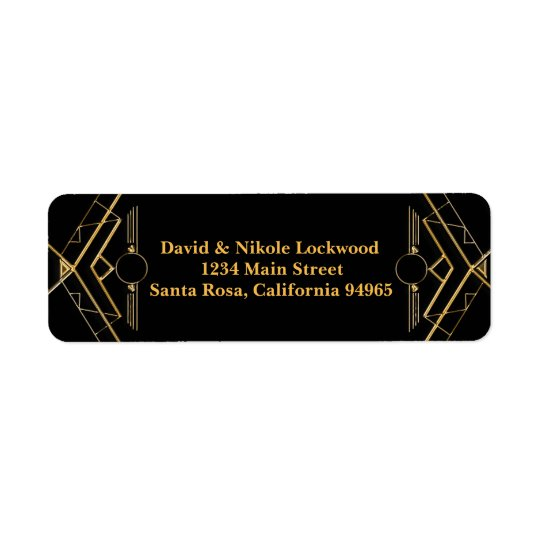 Elegant Art Deco Gatsby Wedding Return Address Return Address Label