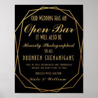 Elegant art deco Gold & Black Open Bar Poster