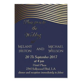 Elegant art deco golden look wavy stripes  wedding card