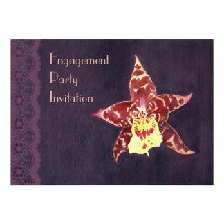 Elegant art deco orchid engagement party invites