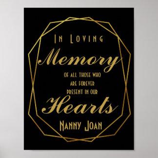 Elegant art deco style Gold Cut In loving memory Poster