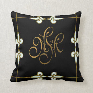 Elegant art deco vintage floral gold monogram cushion