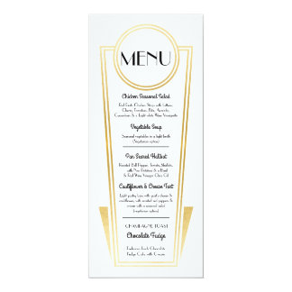 Elegant Art Deco Wedding Menu Gold White Reception Card