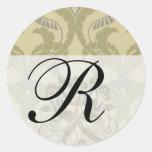 elegant art nouveau abstract pattern round sticker