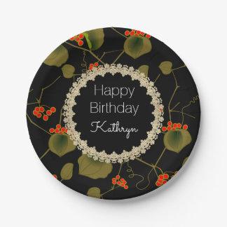 Elegant Asian Floral Birthday Paper Plate