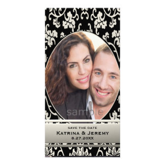 Elegant Asian Floral Damask Custom Save the Date Photo Card Template